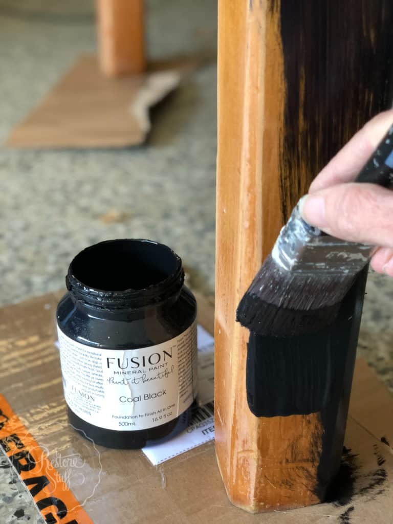 Painting table with Fusion's Coal Black using my Cling On F50 brush.