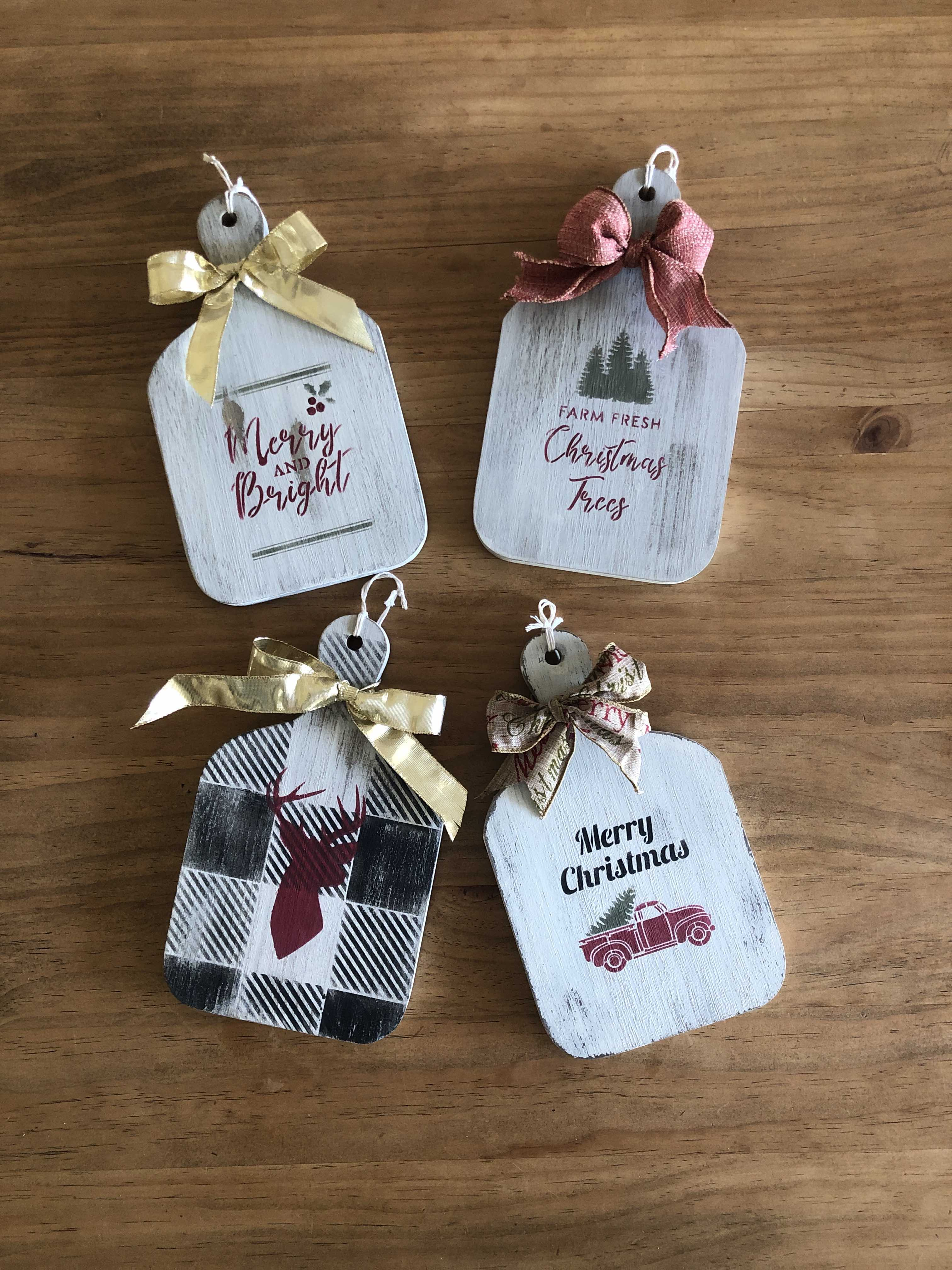 Christmas decor using Essential stencil gift tags