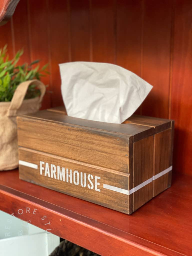 Farmhouse tissue box cover