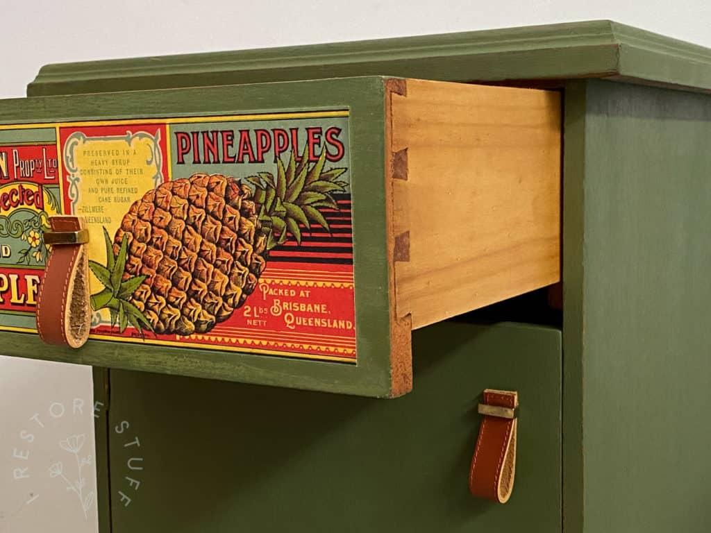 drawer of vintage bedside
