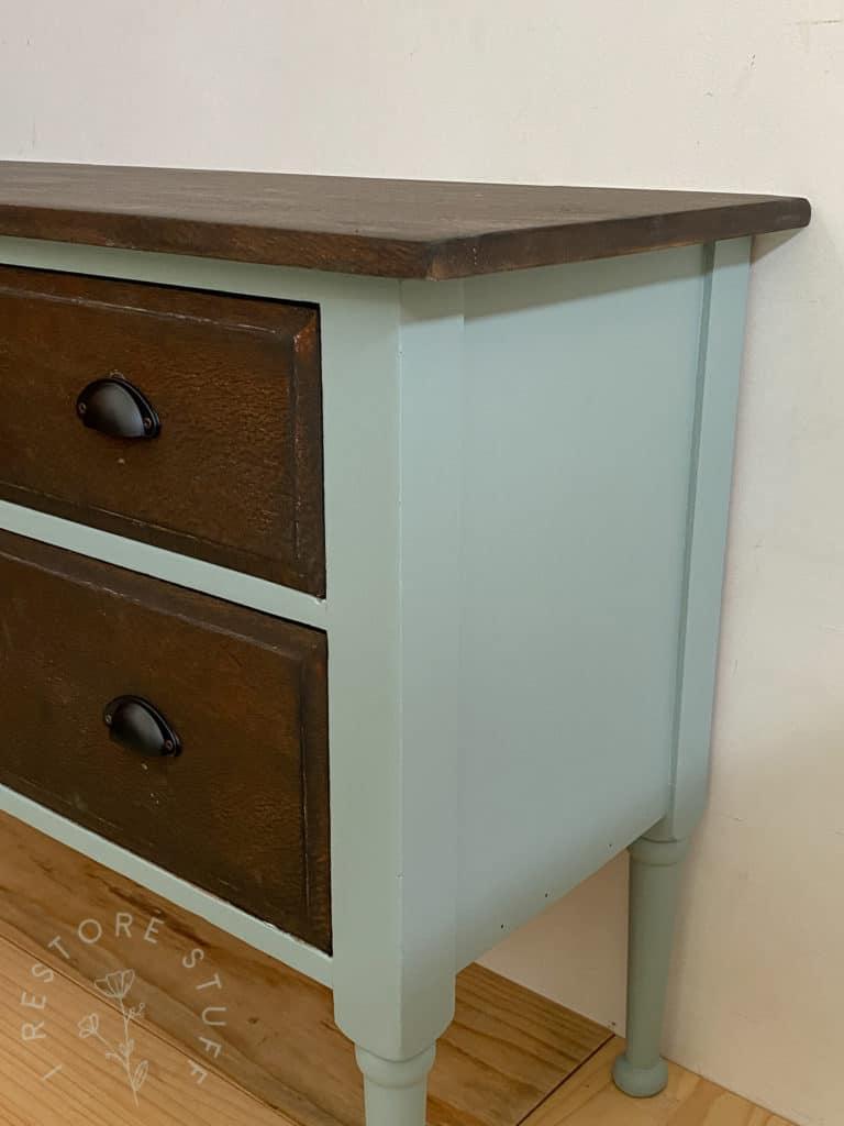 silky oak dresser side view