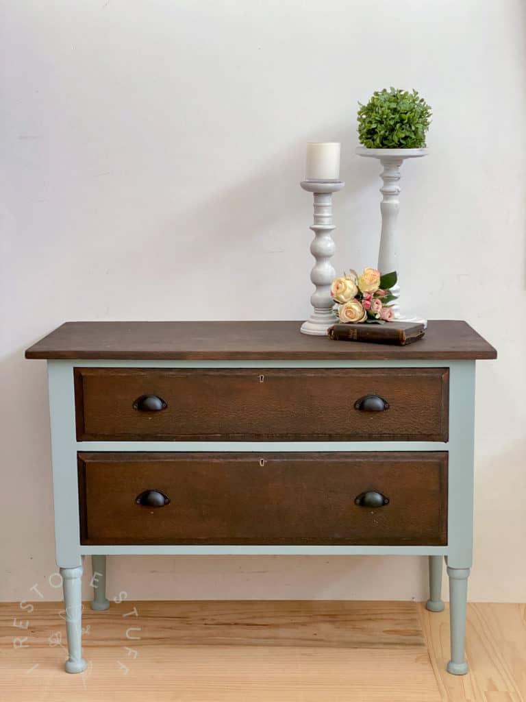 antique silky oak dresser drawers French Eggshell
