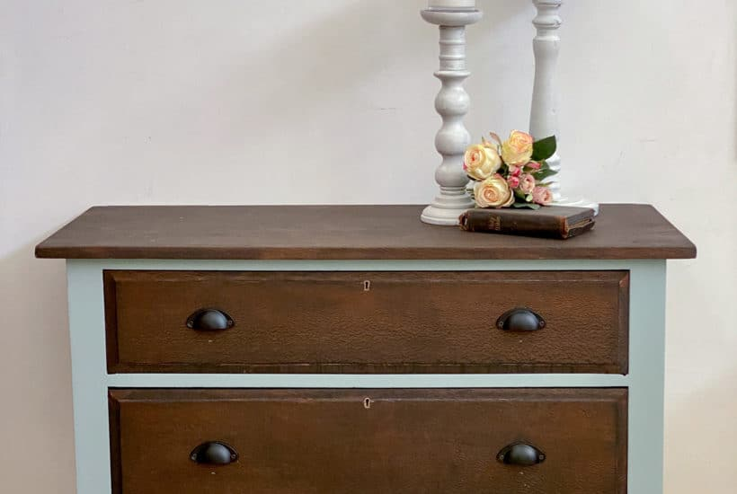 antique silky oak drawers French Eggshell
