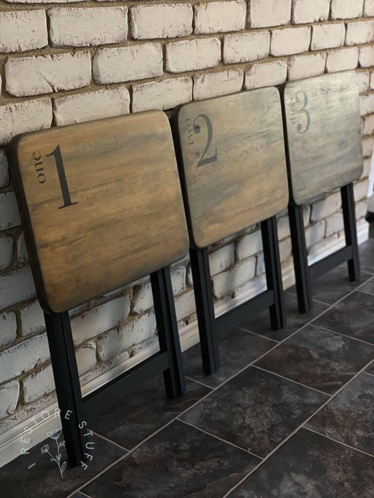 TV tray tables folded