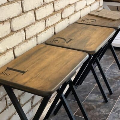 Old TV Tray Tables? Give them a Farmhouse Style Makeover