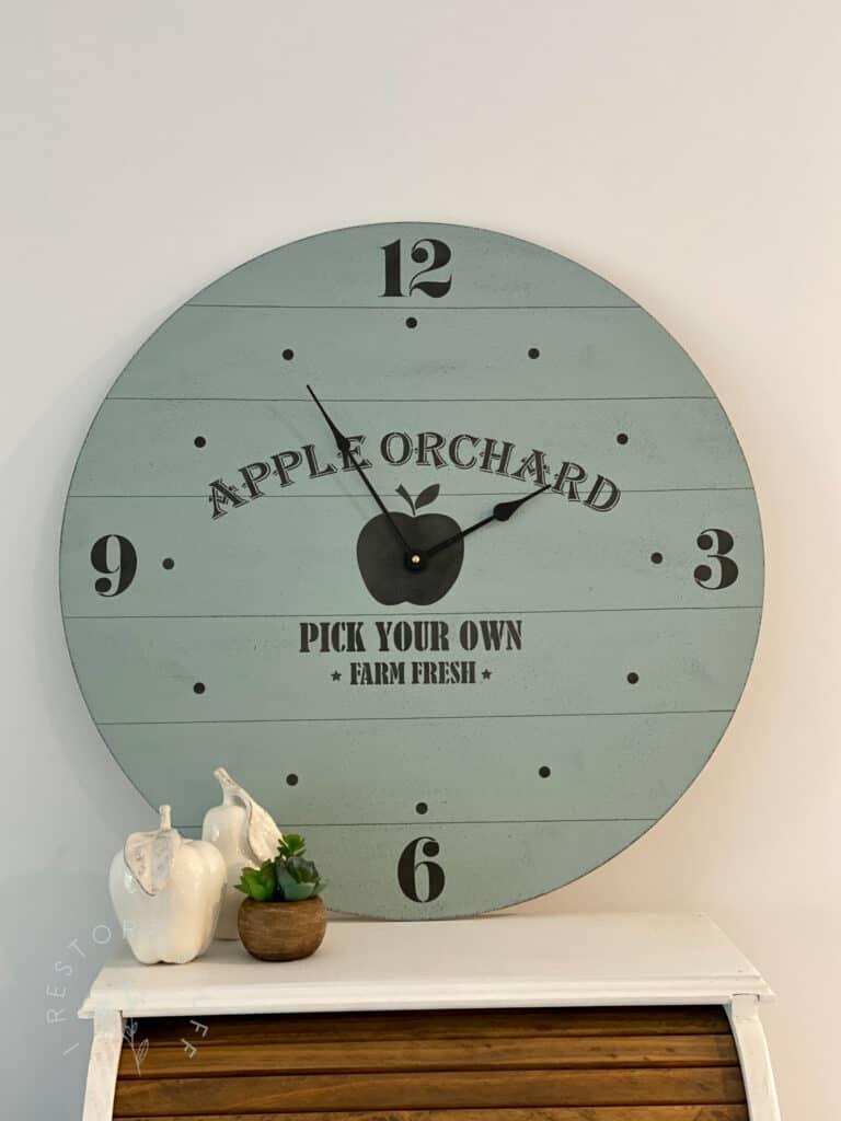 farmhouse clock with apple stencil from Essential Stencil